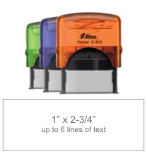 Customize free with text or your logo in your choice of 11 ink colors.  Ships in 1-2 business days and free shipping on orders over $10.  Top quality Shiny S-845 self-inking stamp.