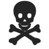 Skull & Crossbones - 3 self-inking rubber stamps in your choice of 11 ink colors. Hundreds of other images to choose from. Order online now and get free shipping on orders over $10.