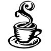 Coffee Cup - 4 self-inking rubber stamps in your choice of 11 ink colors. Hundreds of other images to choose from. Order online now and get free shipping on orders over $10.